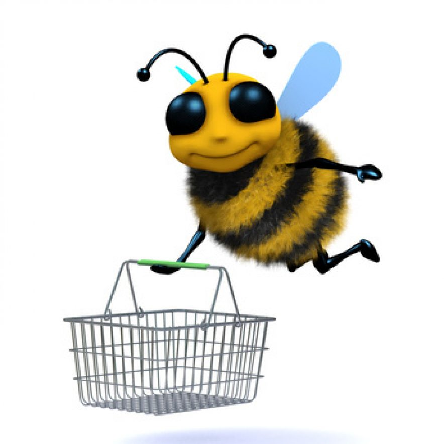 3d Honey bee goes shopping